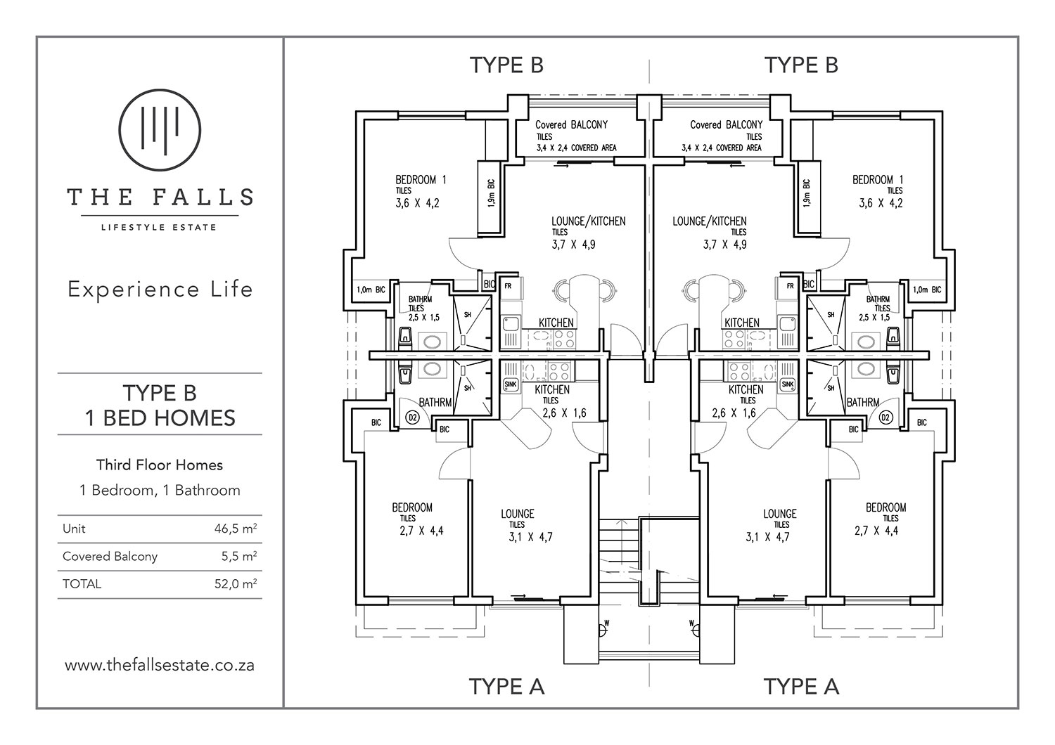 The Fall Lifestyle Estate - 1 Bed Type B Third Floor Home for sale - floorplans