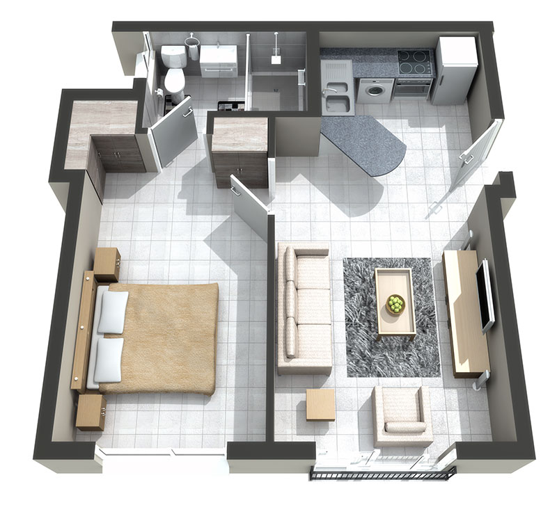 The Falls Lifestyle Estate 1 bed home for sale 3D floorplan